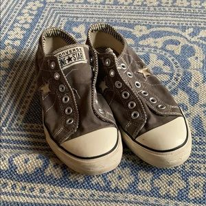 Converse grey no lace tennis shoes